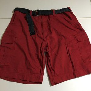 The Foundry Supply & Co Red Cargo Shorts 44 Belted